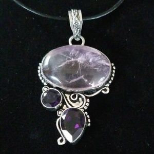 Beautiful African Amethyst .925 Pendant Necklace